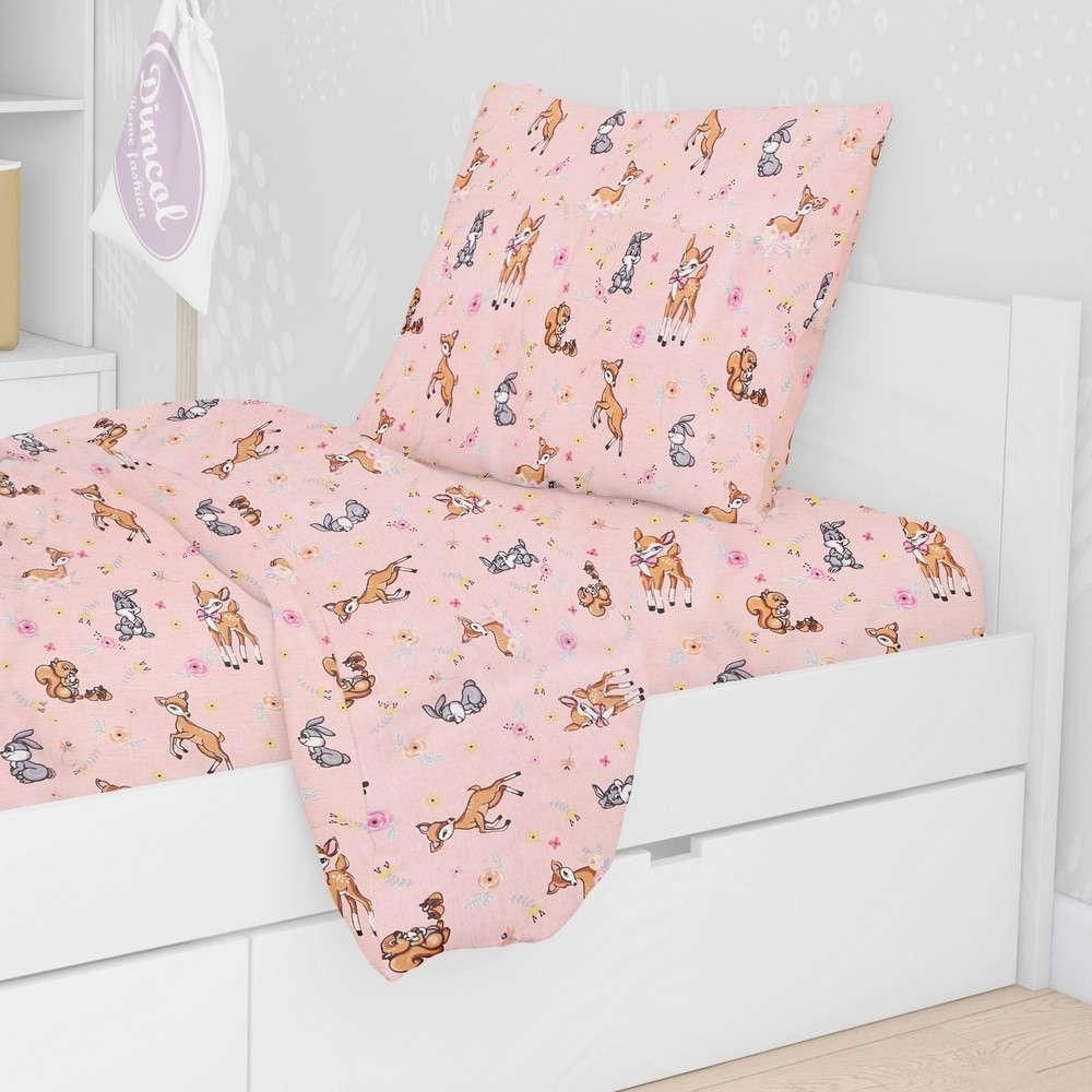 Μαξιλαροθήκη Παιδική Εμπριμέ Ελαφάκι 117 Pink DimCol 50Χ70 50x70cm