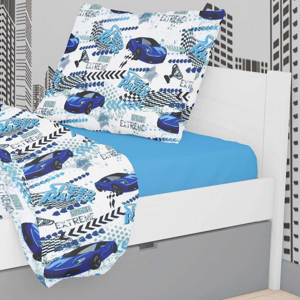 Μαξιλαροθήκη Παιδική Εμπριμέ Speed Racer 291 Rotary Print White-Blue DimCol 50Χ70 50x70cm