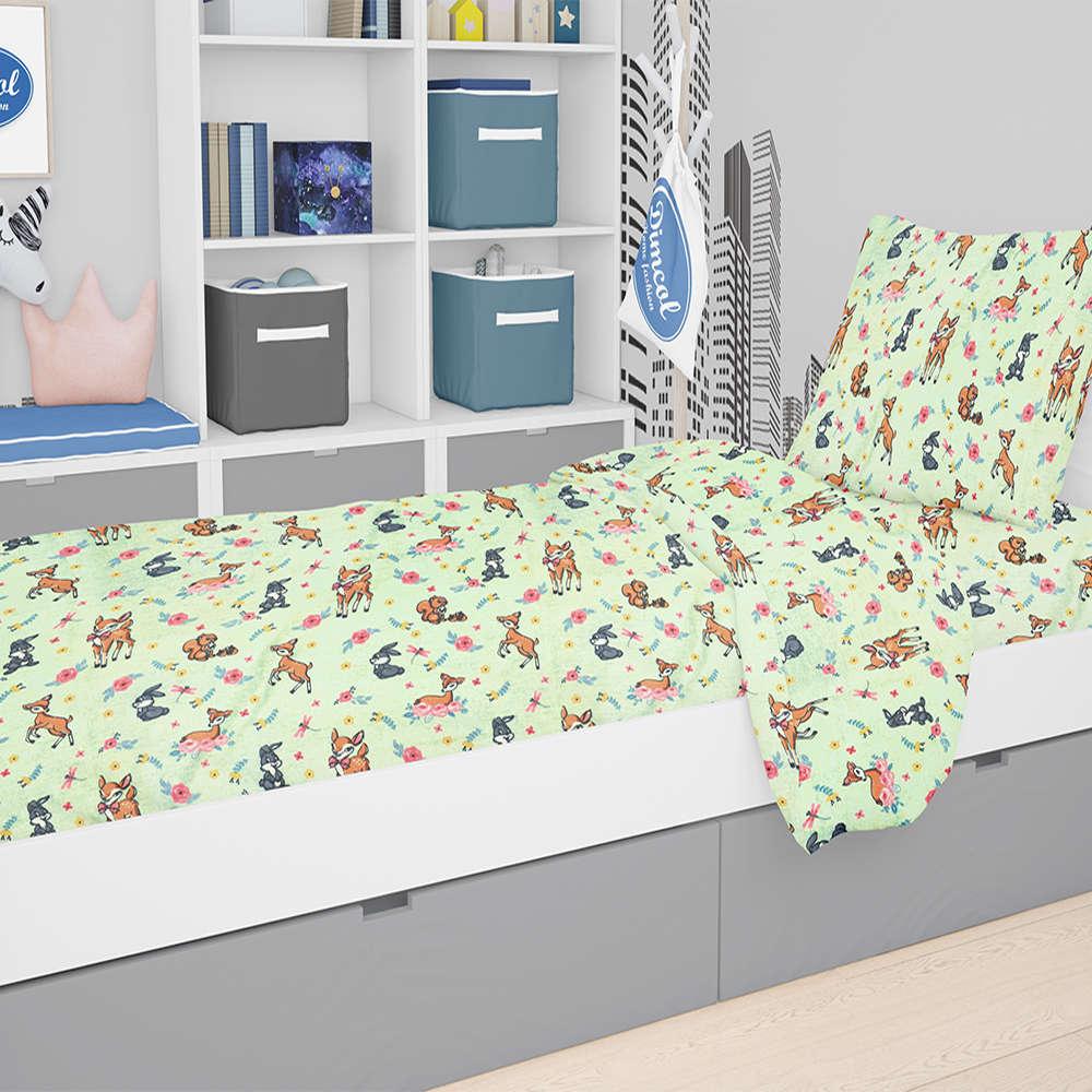 Παπλωματοθήκη Παιδική Εμπριμέ Ελαφάκι 115 Green DimCol Μονό 160x240cm