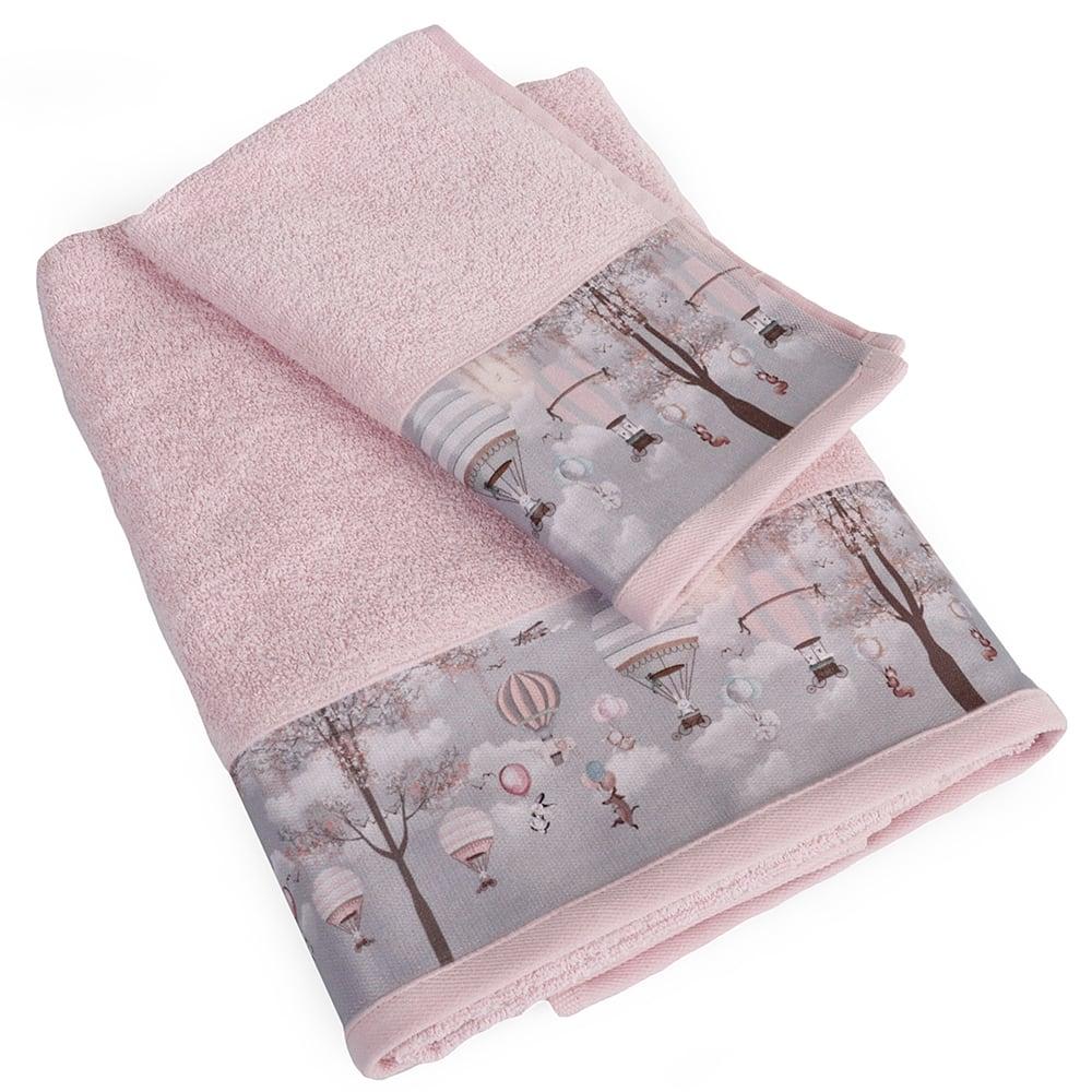 Πετσέτα Βρεφική Σετ 2τμχ Με Ψηφιακή Εκτύπωση Serenity 73 Pink DimCol Σετ Πετσέτες 70x140cm