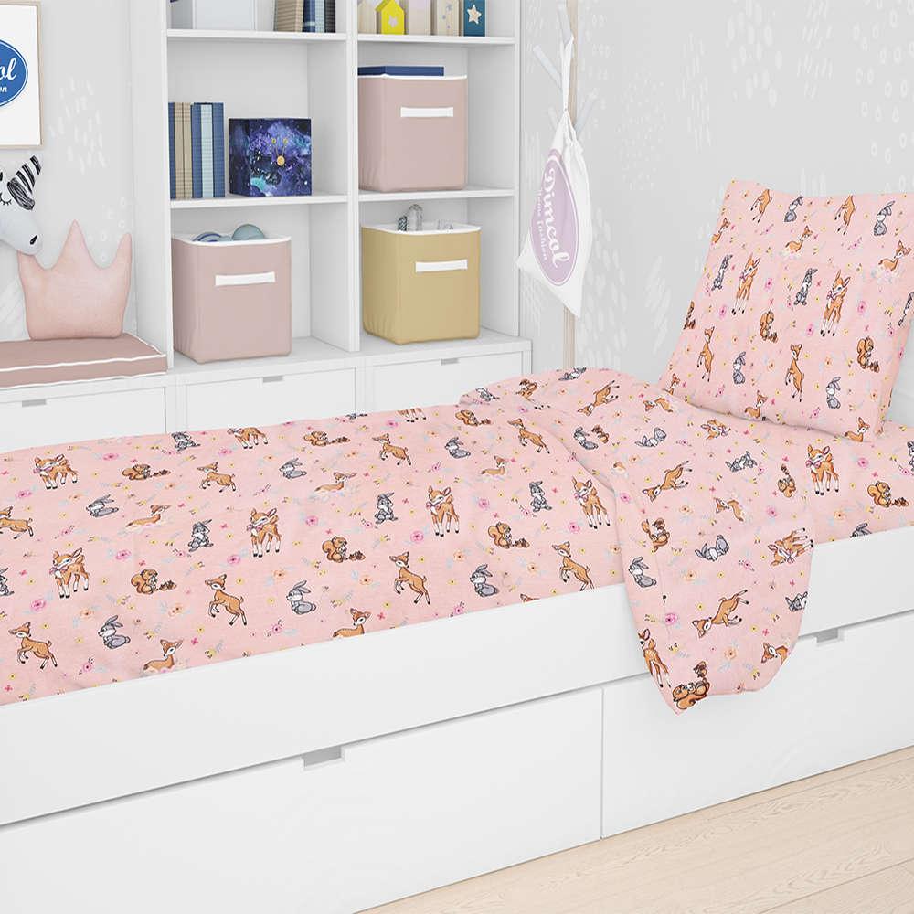 Σεντόνια Παιδικά Σετ 3τμχ Εμπριμέ Ελαφάκι 117 Pink DimCol Μονό 160x240cm
