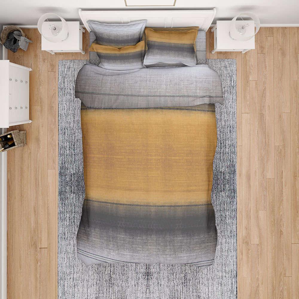 Σεντόνια Εμπριμέ Σετ 3τμχ Hor Stripes 02 Rust DimCol Υπέρδιπλo 220x240cm