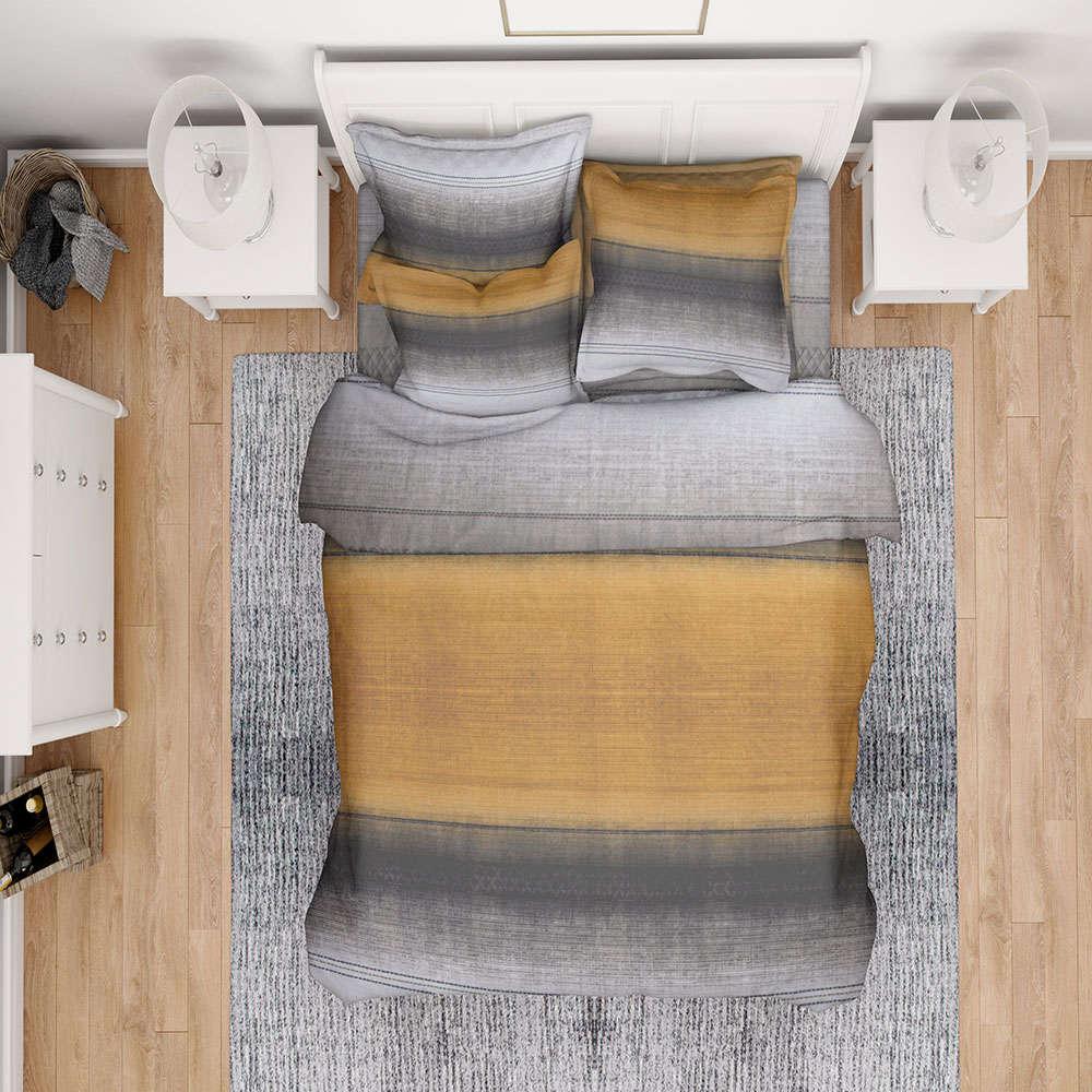 Σεντόνια Εμπριμέ Σετ 4τμχ Hor Stripes 02 Rust DimCol Υπέρδιπλo 220x240cm
