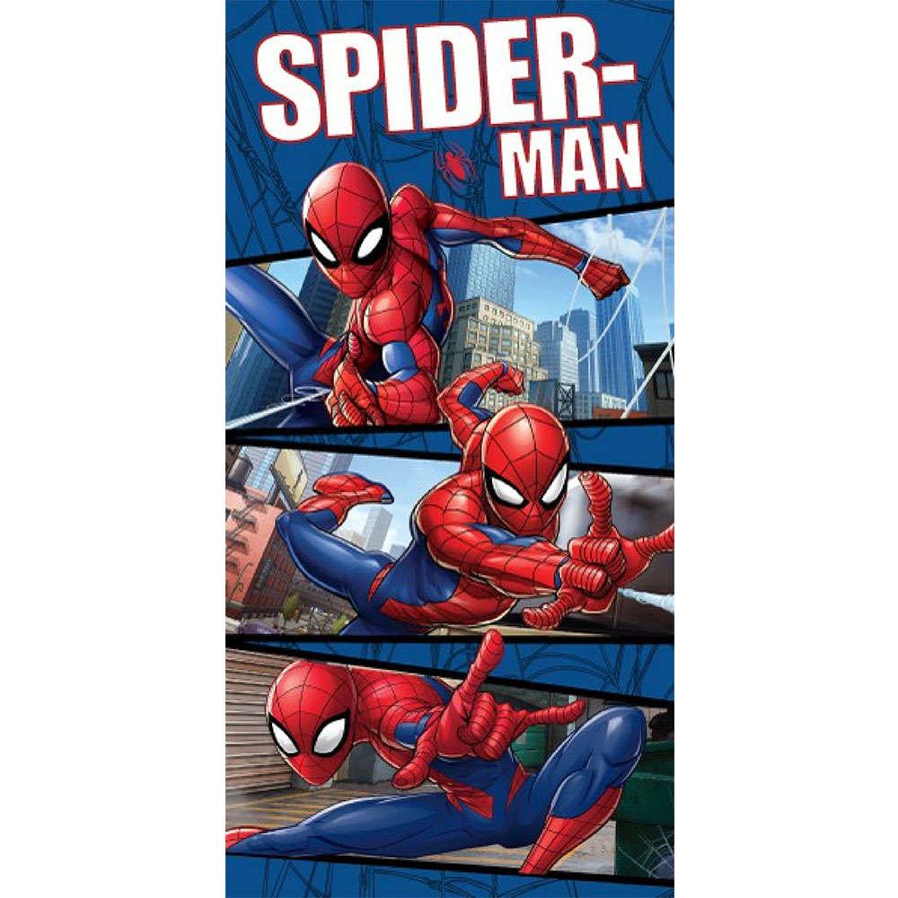 Πετσέτα Θαλάσσης Παιδική Βελουτέ Disney Spiderman 11 Blue-Red DimCol Θαλάσσης