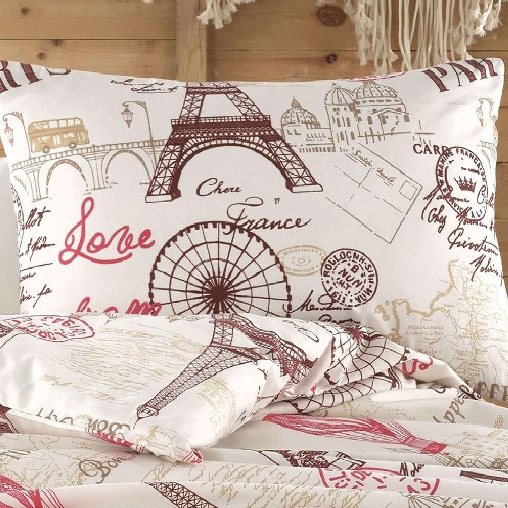 Μαξιλαροθήκη Paris 300 Digital Print Beige-Red DimCol 50Χ70