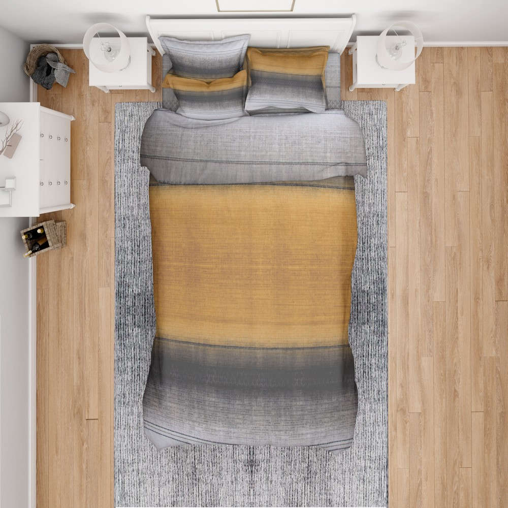 Παπλωματοθήκη Hor.Stripes 02 Grey-Ochre DimCol Μονό 160x240cm