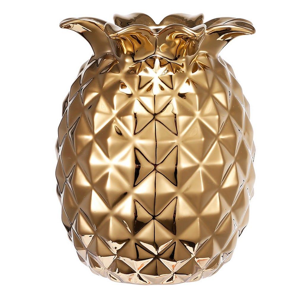 Διακοσμητικός Ανανάς Κεραμικός 1743 Gold Artekko Κεραμικό