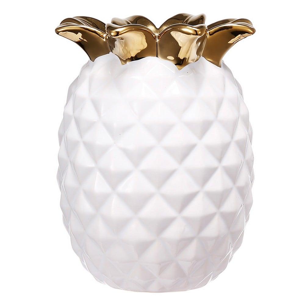 Διακοσμητικός Ανανάς Κεραμικός 1744 White - Gold Artekko Κεραμικό