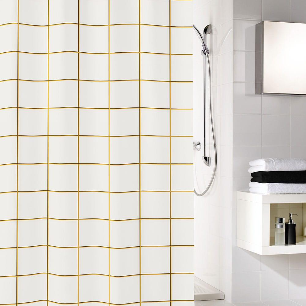 Κουρτίνα Μπάνιου Grid 5914 Black-Gold Kleine Wolke Φάρδος 180cm