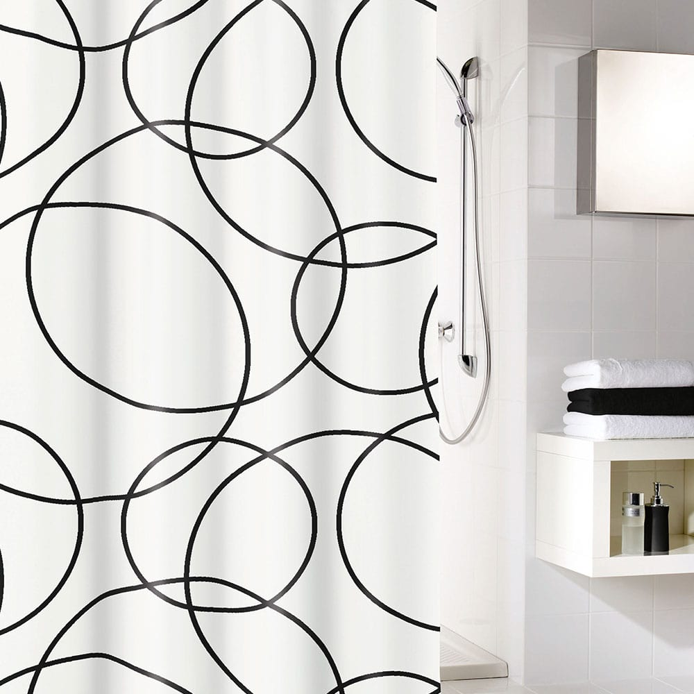 Κουρτίνα Μπάνιου Rings 5281 Black White Kleine Wolke Φάρδος 180cm 180x200cm