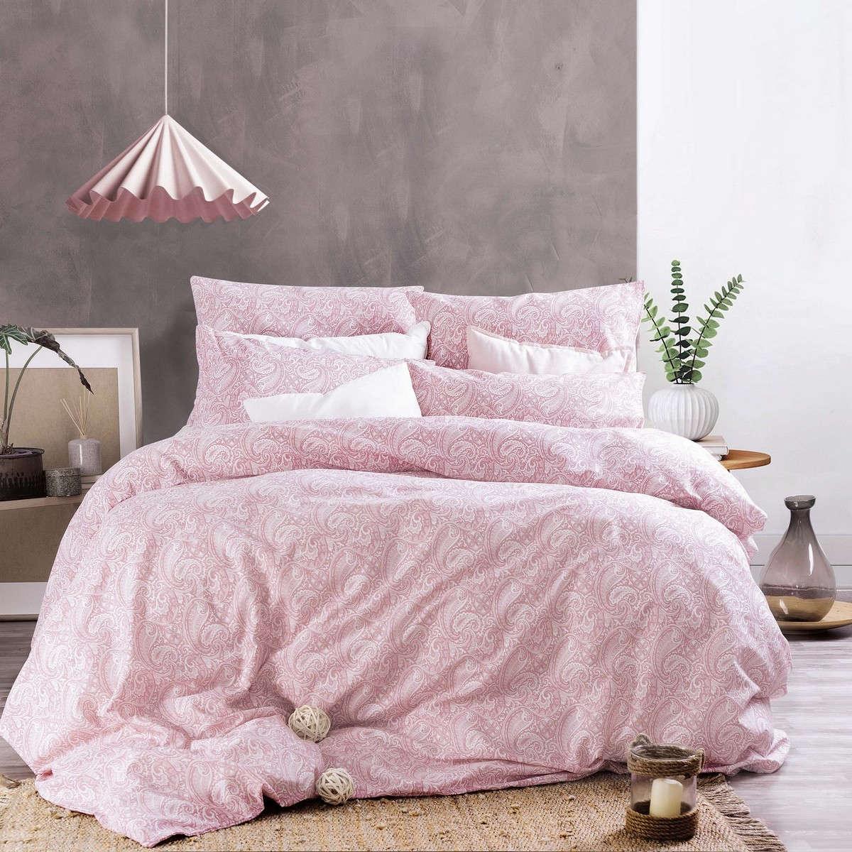Σεντόνια Σετ 4Τμχ. Next Layla Pink Με Λάστιχο Ρυθμός Υπέρδιπλo 165x230cm