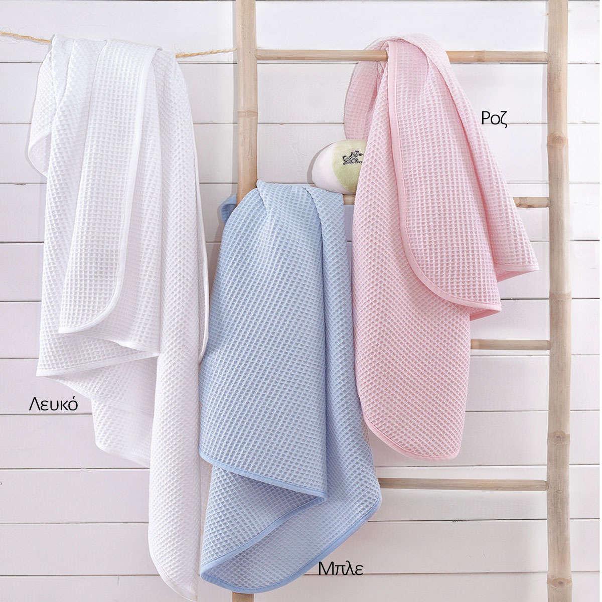 Κουβέρτα Βρεφική Πικέ Sweety Λευκό Ρυθμός Αγκαλιάς 80x90cm