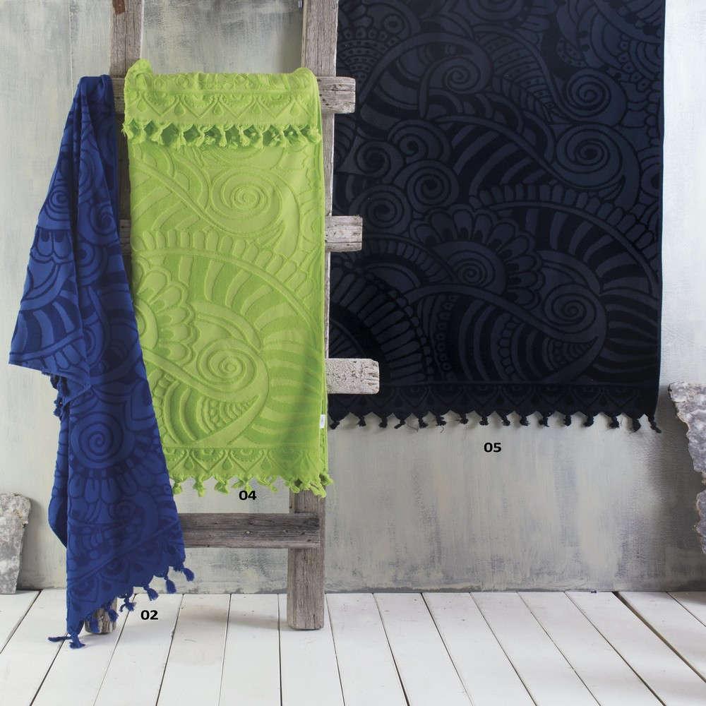 Πετσέτα Θαλάσσης Cabarita 02 Μπλε Σκούρο Ρυθμός Θαλάσσης 90x160cm