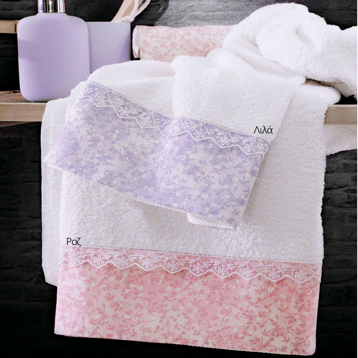 Πετσέτες Σετ 3τμχ Σε Σακούλα Carezza Ροζ Ρυθμός Σετ Πετσέτες