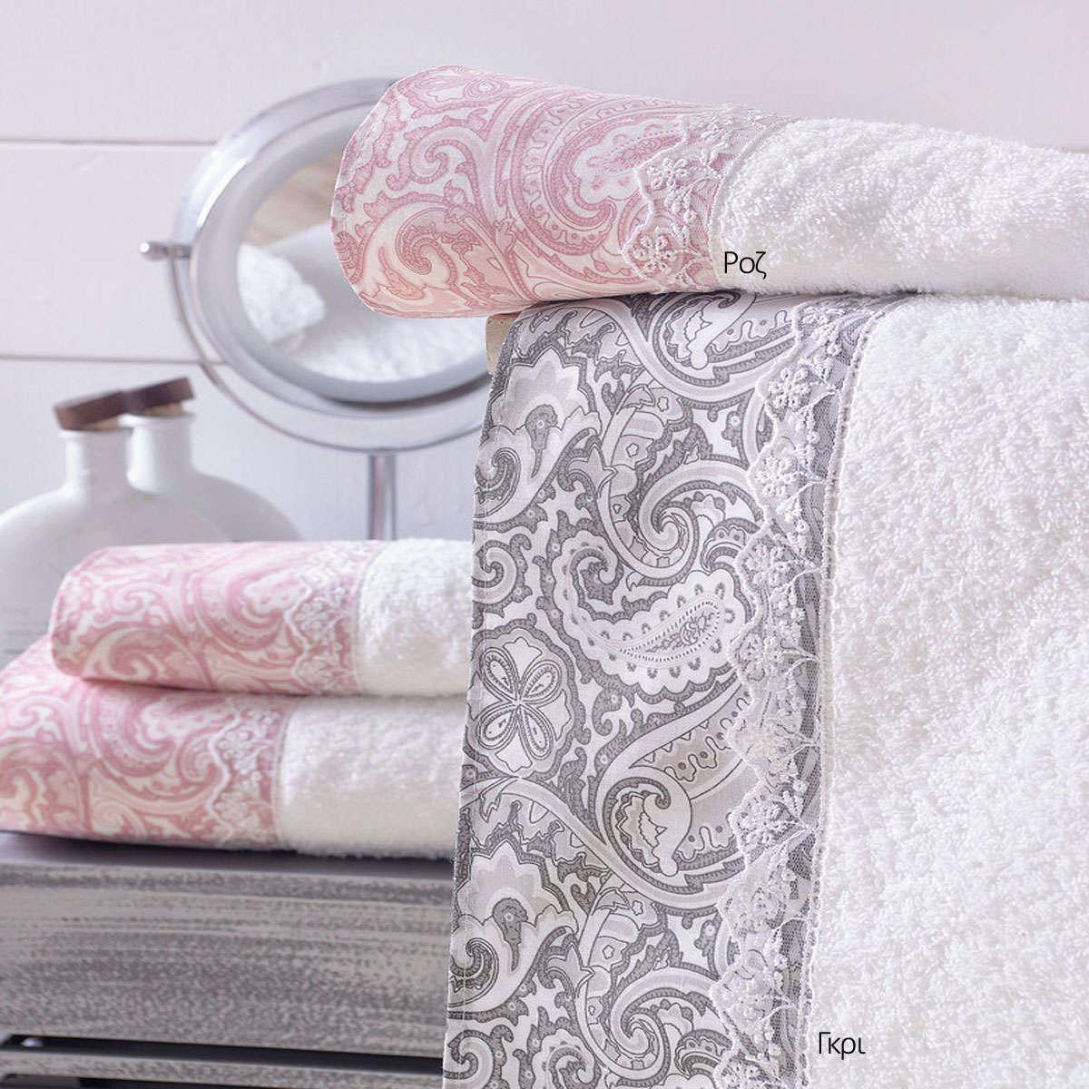 Πετσέτες Σετ 3τμχ Σε Σακούλα Layla Ροζ Ρυθμός Σετ Πετσέτες