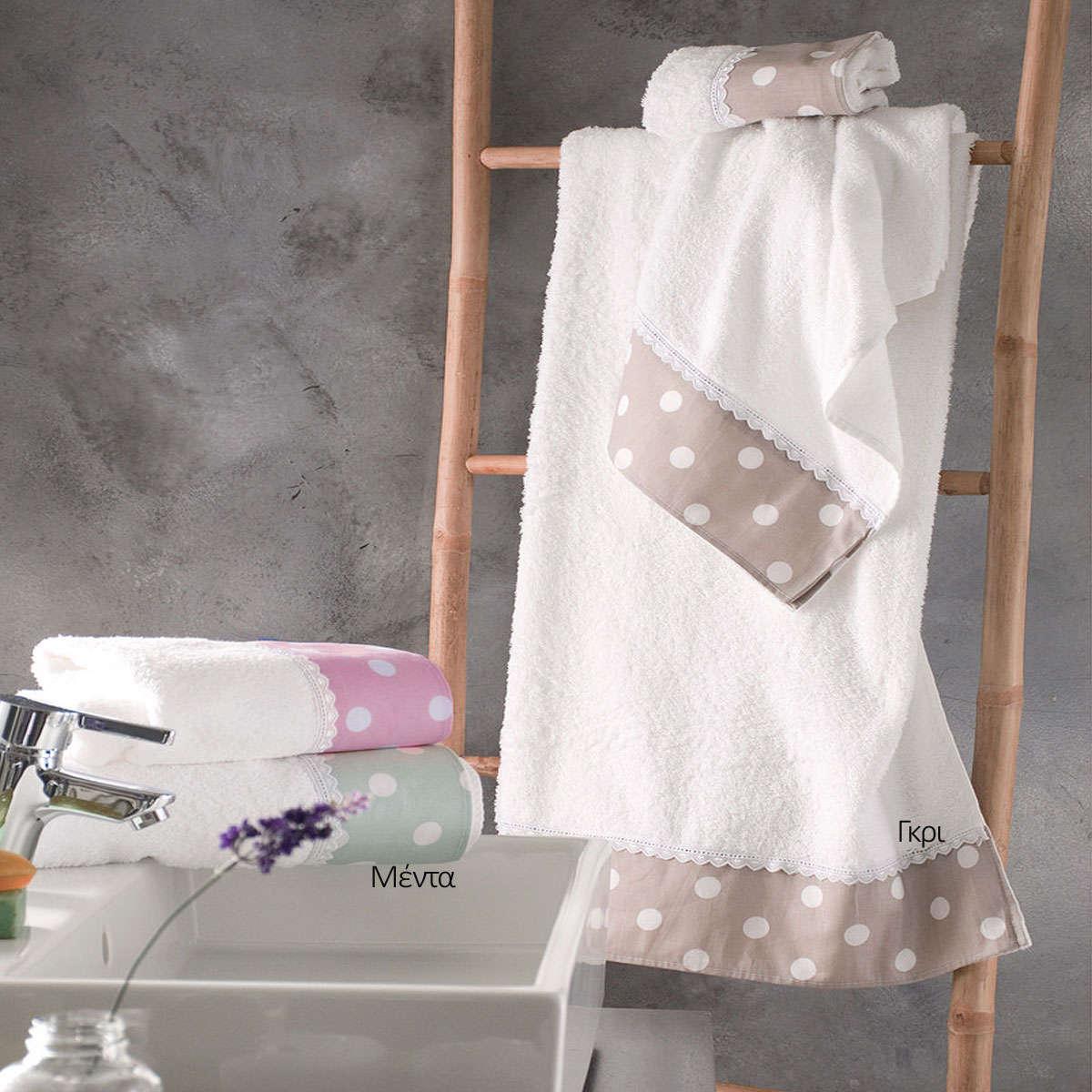 Πετσέτες Σετ 3τμχ Σε Σακούλα Soft Γκρι Ρυθμός Σετ Πετσέτες