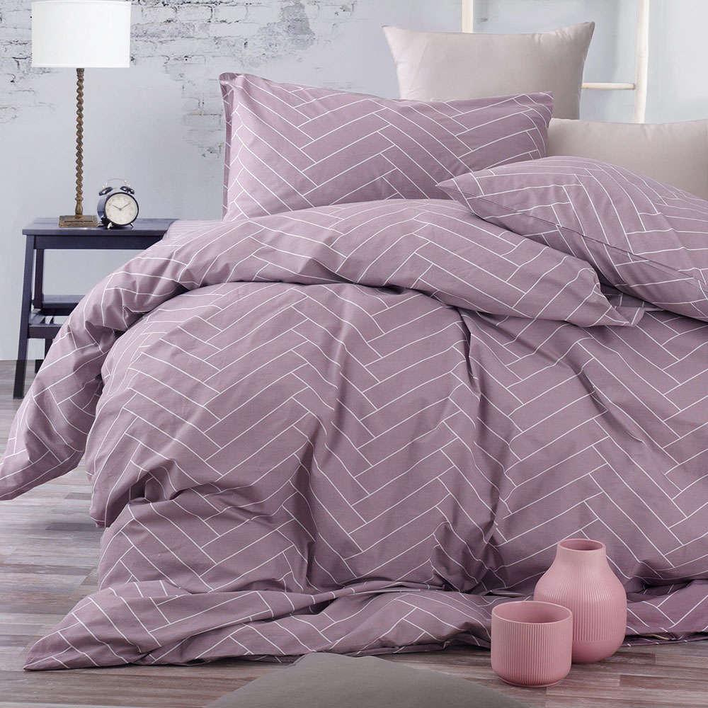 Σεντόνια Με Λάστιχο Σετ Symbol Tiles Purple Ρυθμός Υπέρδιπλo 165x230cm