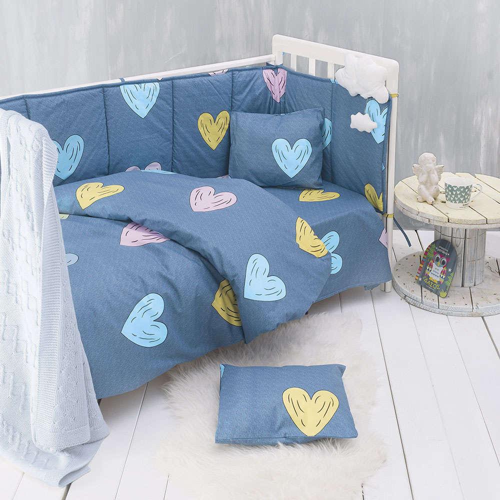 Παπλωματοθήκη & Μαξιλαροθήκη Βρεφικά Libi Baby Σετ 2τεμ. Blue Ρυθμός 110x160cm