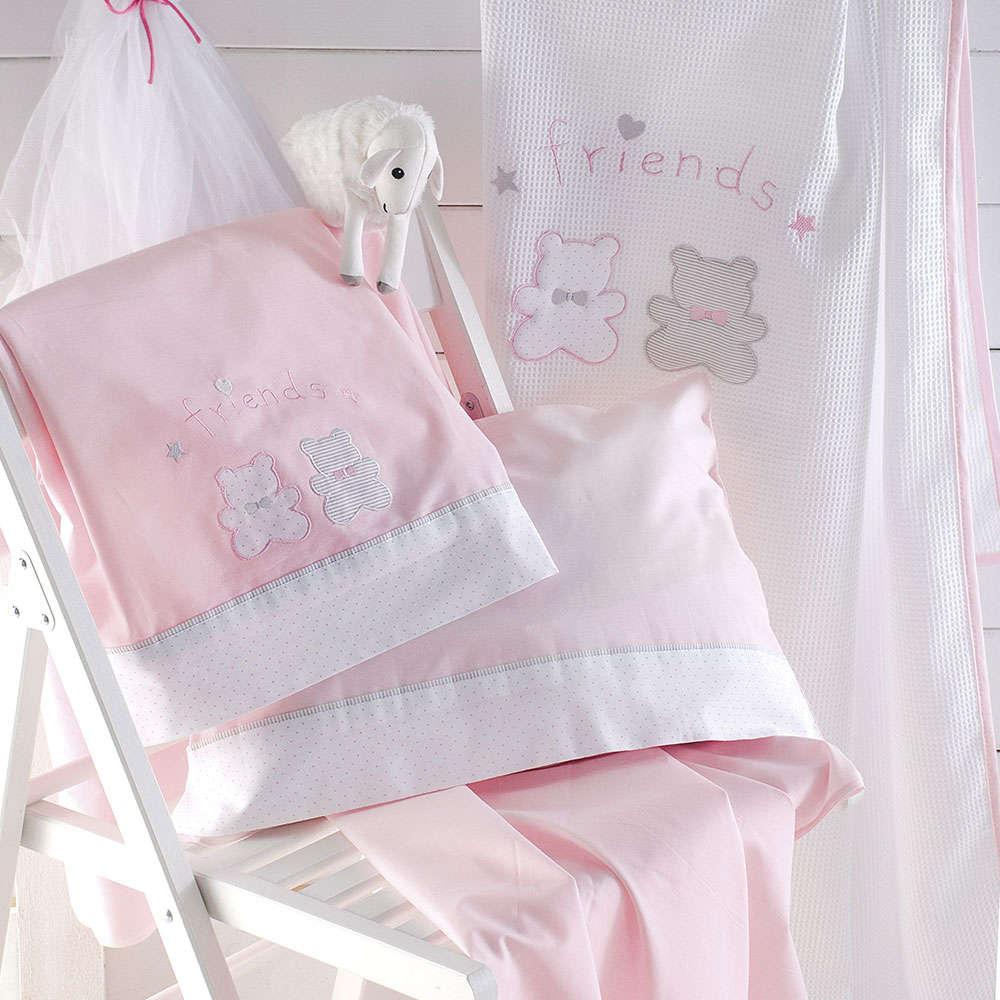 Σεντόνια Βρεφικά Φανελα Σετ 3τμχ Bip & Pip Pink Ρυθμός Κούνιας 100x160cm