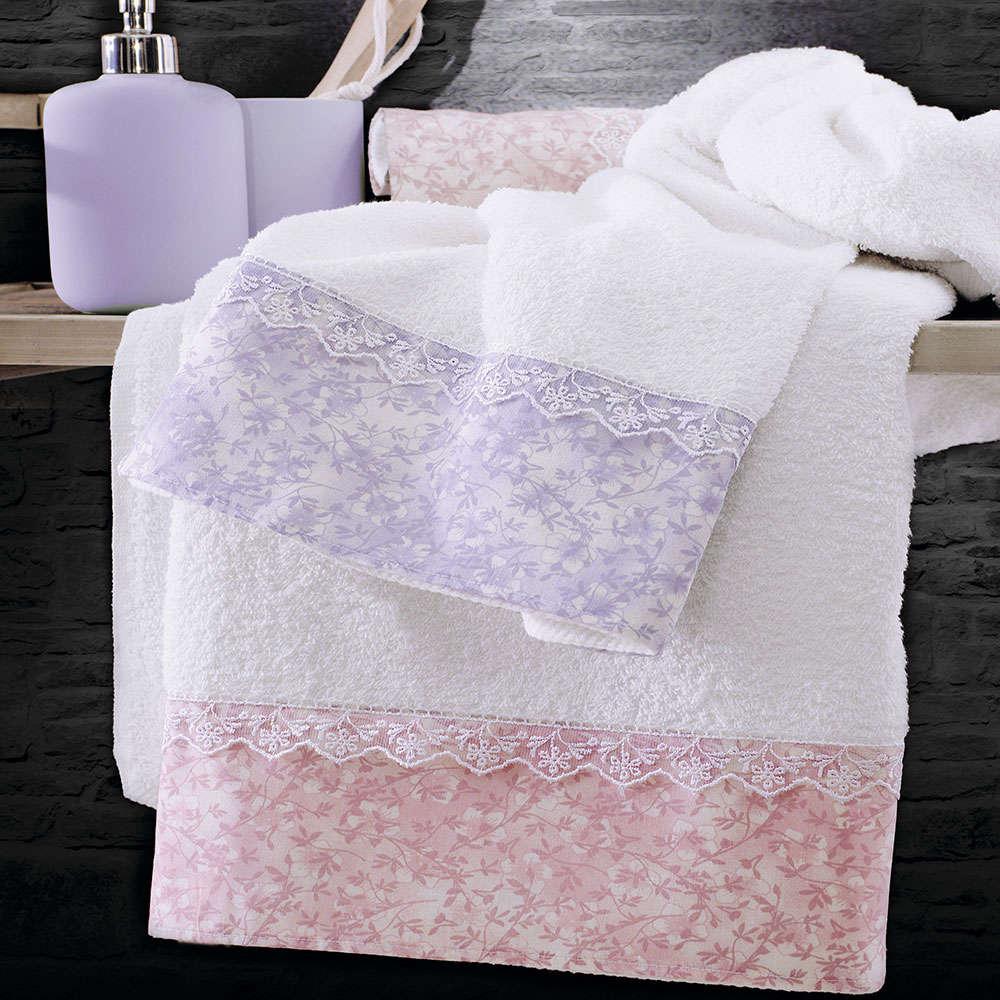 Πετσέτες Carezza Σετ 3τεμ. Lila Ρυθμός Σετ Πετσέτες