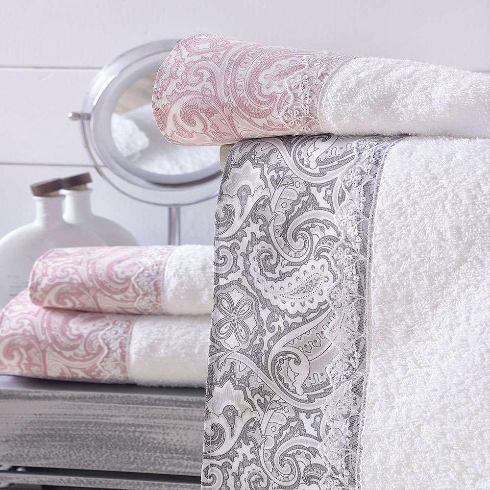 Πετσέτες Layla Σετ 3τεμ. Grey Ρυθμός Σετ Πετσέτες