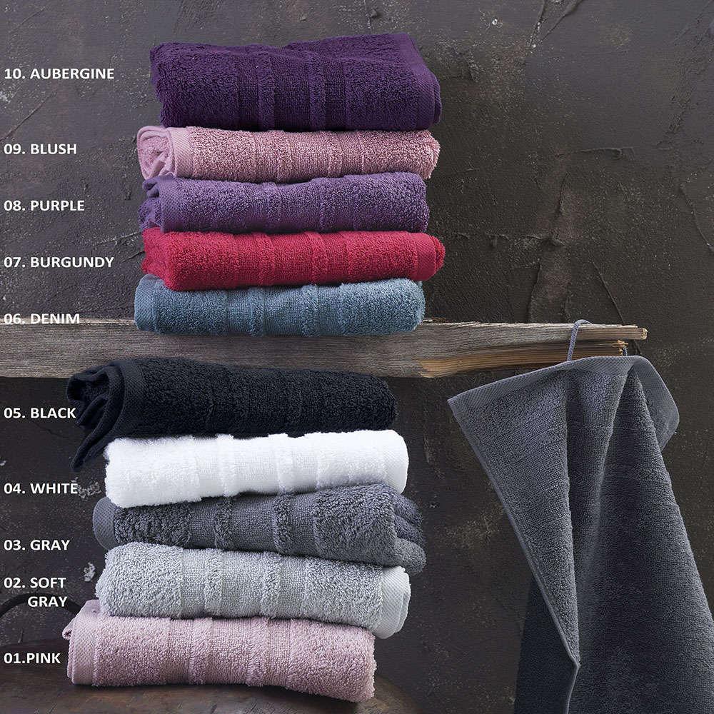 Πετσέτες Πενιέ Laura 02 Σετ 3τεμ. Soft Grey Ρυθμός Σετ Πετσέτες