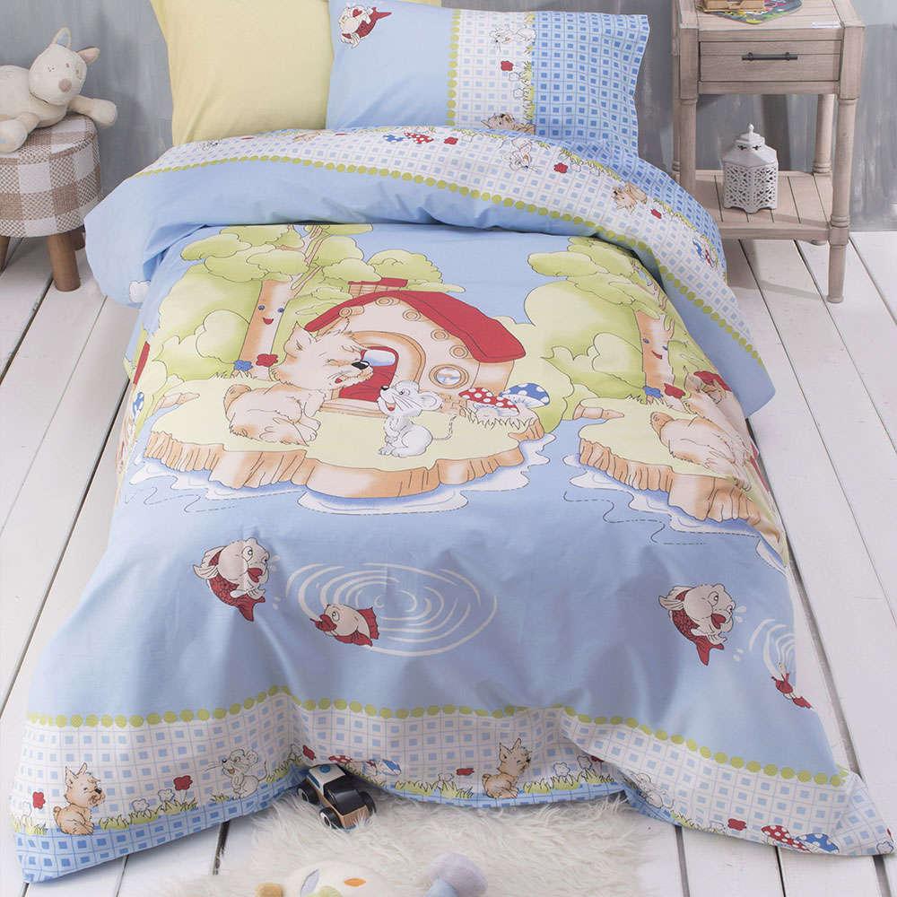 Κουβερλί & Μαξιλαροθήκη Παιδικά Tsaky Σετ 2τεμ. Blue-Multi Ρυθμός Ημίδιπλο 160x240cm