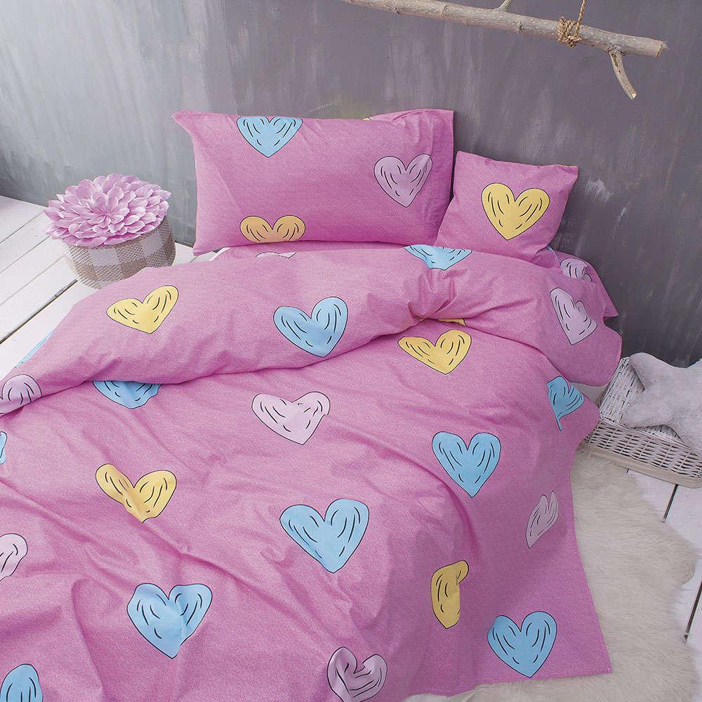 Σεντόνια Παιδικά Nova Libi Με Λάστιχο Σετ 3τμχ Pink Ρυθμός Υπέρδιπλo 105x205cm