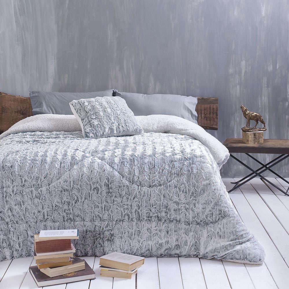 Κουβερτοπάπλωμα Fur&Sherpa Judd Blue-Grey Ρυθμός Υπέρδιπλo 220x240cm