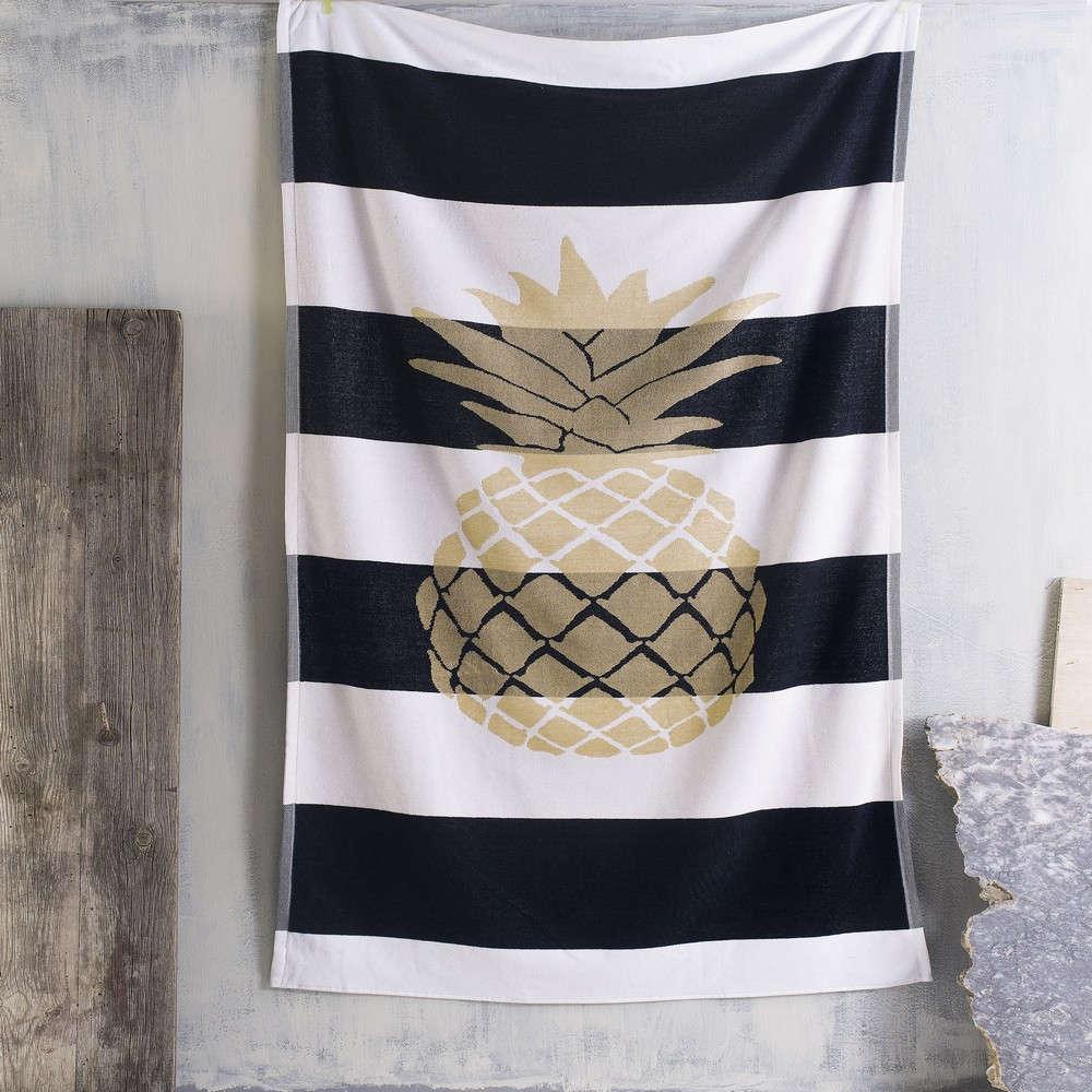 Πετσέτα Θαλάσσης Pineapple Black-Gold Ρυθμός Θαλάσσης 85x165cm