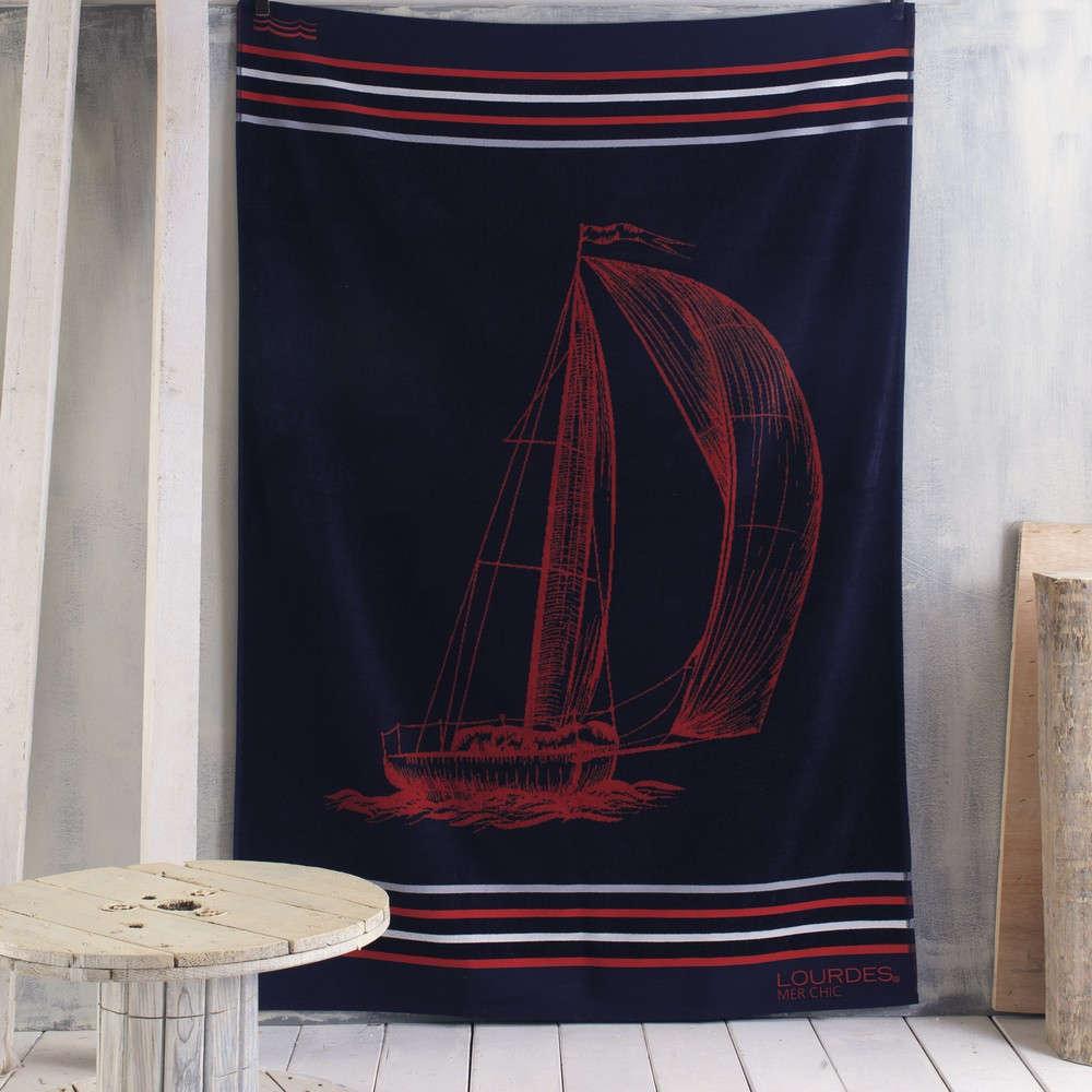 Πετσέτα Θαλάσσης Trope Blue-Red Ρυθμός Θαλάσσης 100x180cm