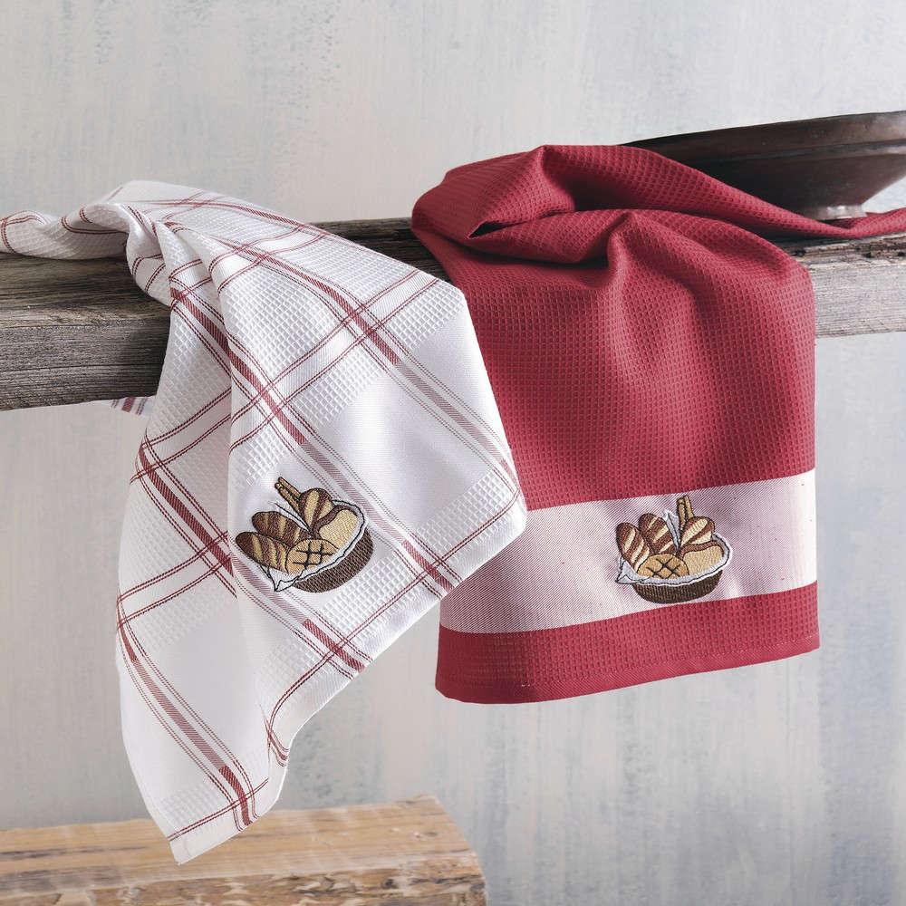 Πετσέτες Κουζίνας Πικέ Σετ 2τμχ Basket Red Ρυθμός 45x70cm