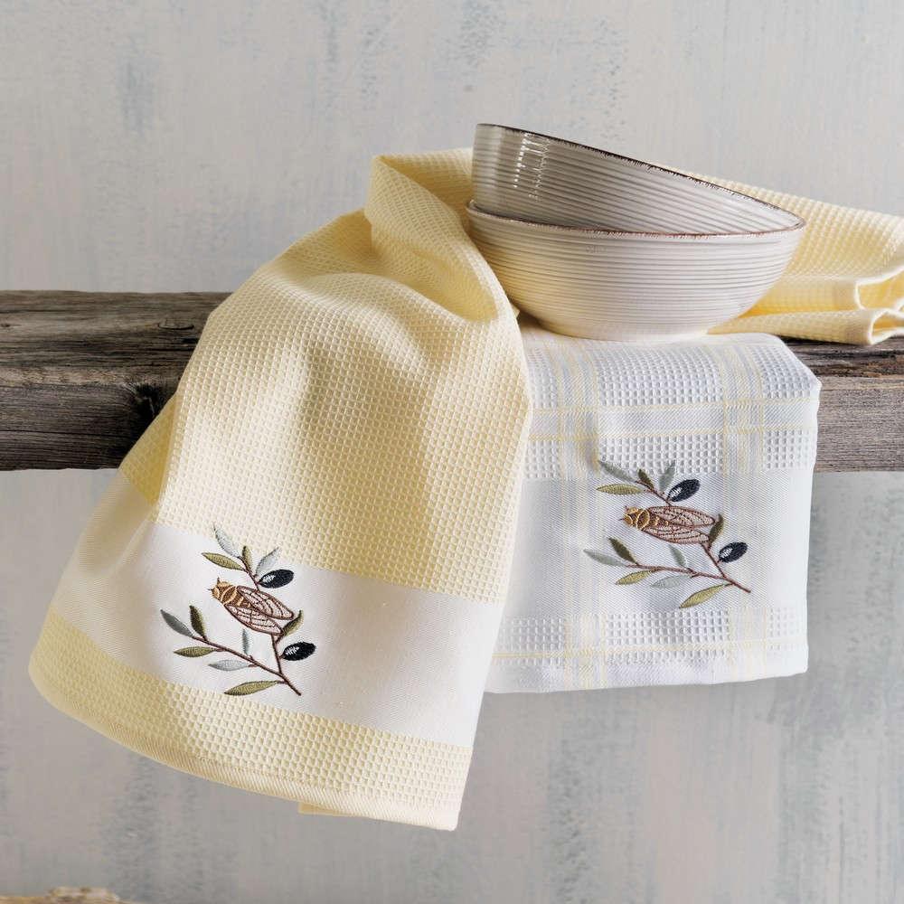 Πετσέτες Κουζίνας Πικέ Σετ 2τμχ Cicada White-Yellow Ρυθμός 45x70cm