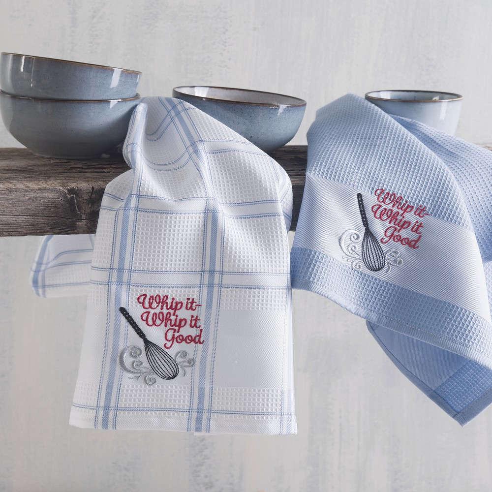 Πετσέτες Κουζίνας Πικέ Σετ 2τμχ Whip It Light Blue Ρυθμός 45x70cm