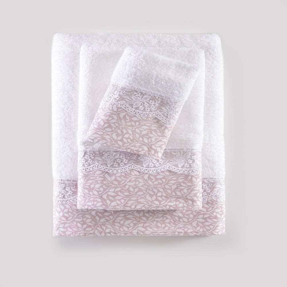 Πετσέτες Σετ 3τμχ Σε Κουτί Alena White-Pink Ρυθμός Σετ Πετσέτες 80x150cm