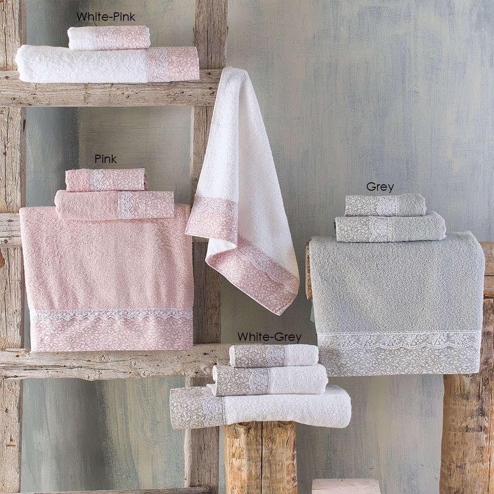 Πετσέτες Σετ 3τμχ Σε Σακούλα Alena Pink Ρυθμός Σετ Πετσέτες 80x150cm