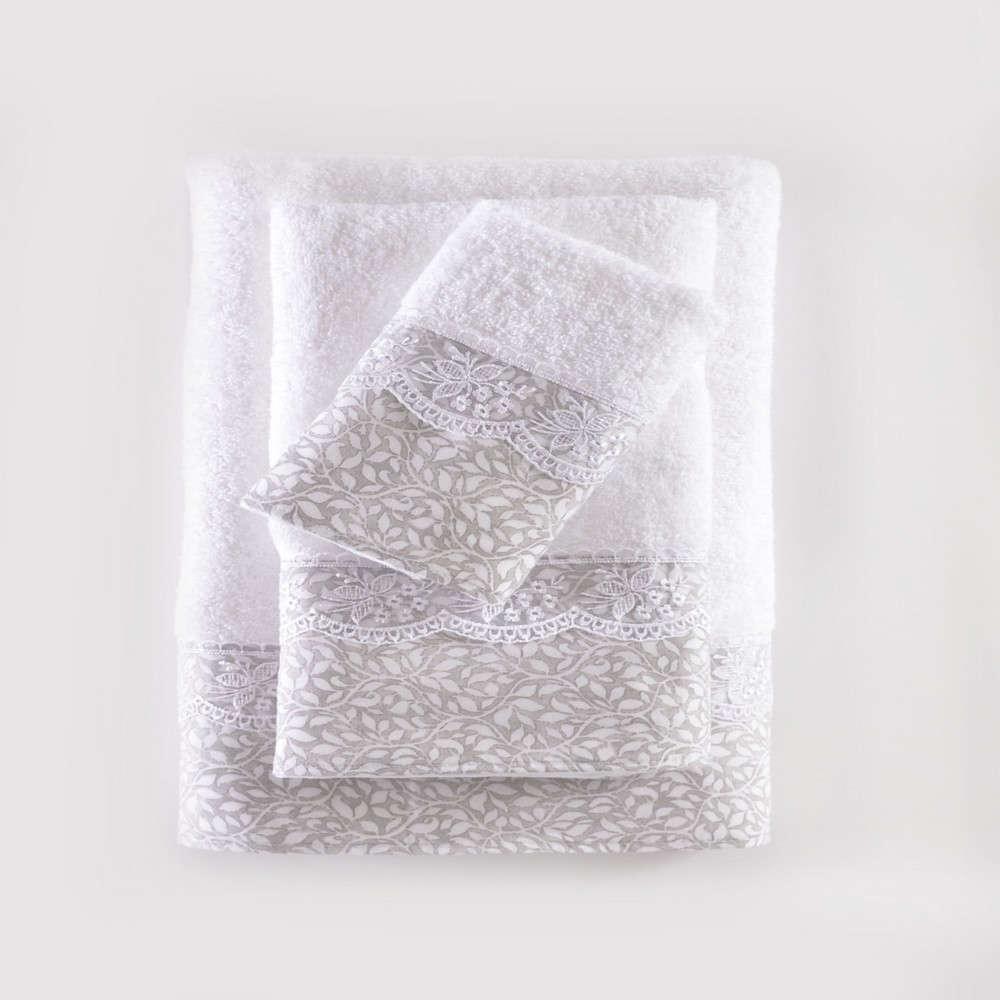 Πετσέτες Σετ 3τμχ Σε Σακούλα Alena White-Grey Ρυθμός Σετ Πετσέτες 80x150cm