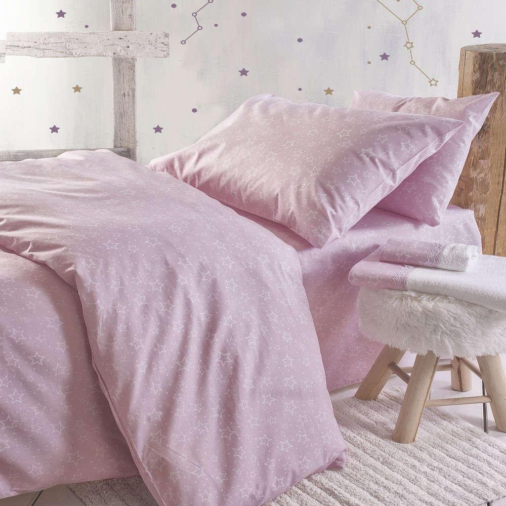 Σεντόνια Παιδικά Με Λάστιχο Σετ 3τμχ Bright Pink Ρυθμός Μονό 160x260cm
