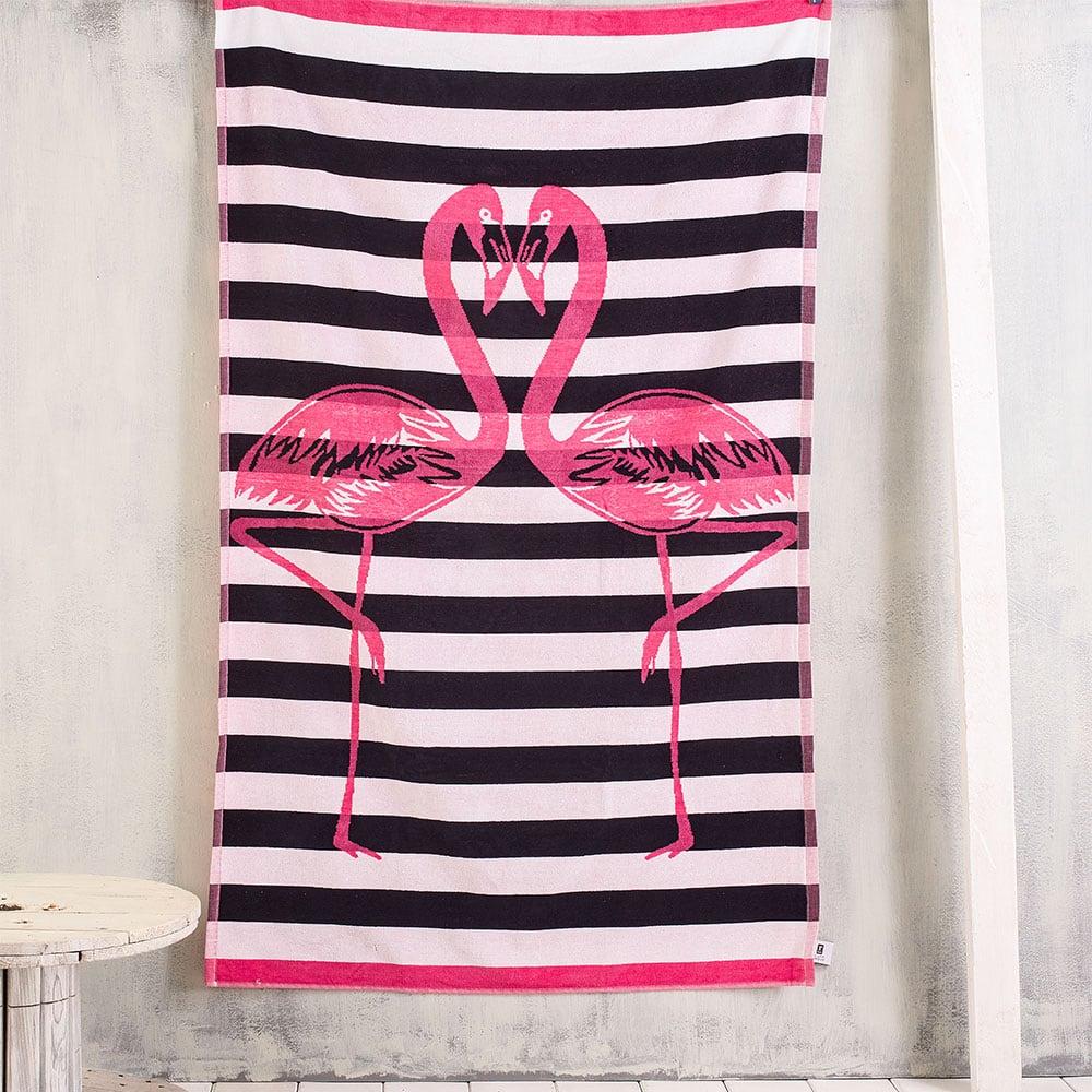 Πετσέτα Θαλάσσης Flamingos Pink Ρυθμός Θαλάσσης 85x165cm