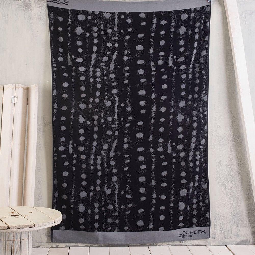 Πετσέτα Θαλάσσης Dots Black-Grey Ρυθμός Θαλάσσης 100x180cm