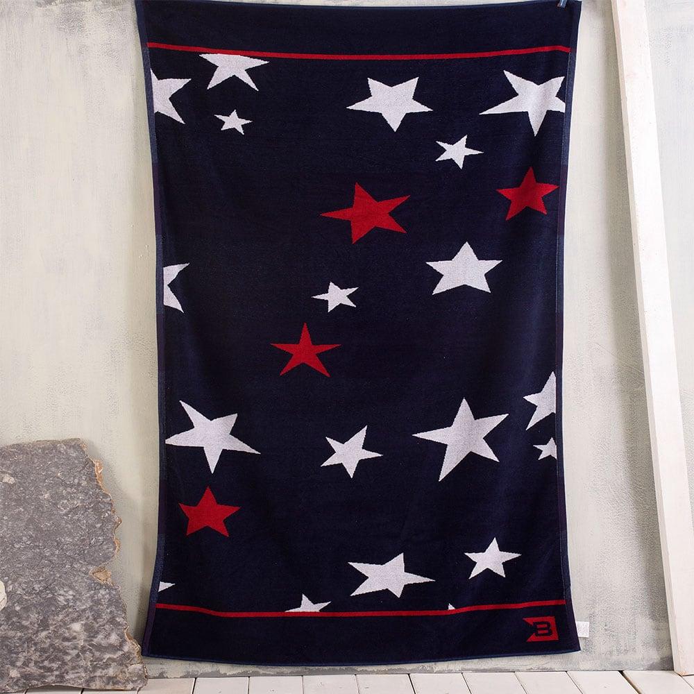 Πετσέτα Θαλάσσης Stars Blue-Red Ρυθμός Θαλάσσης 100x180cm