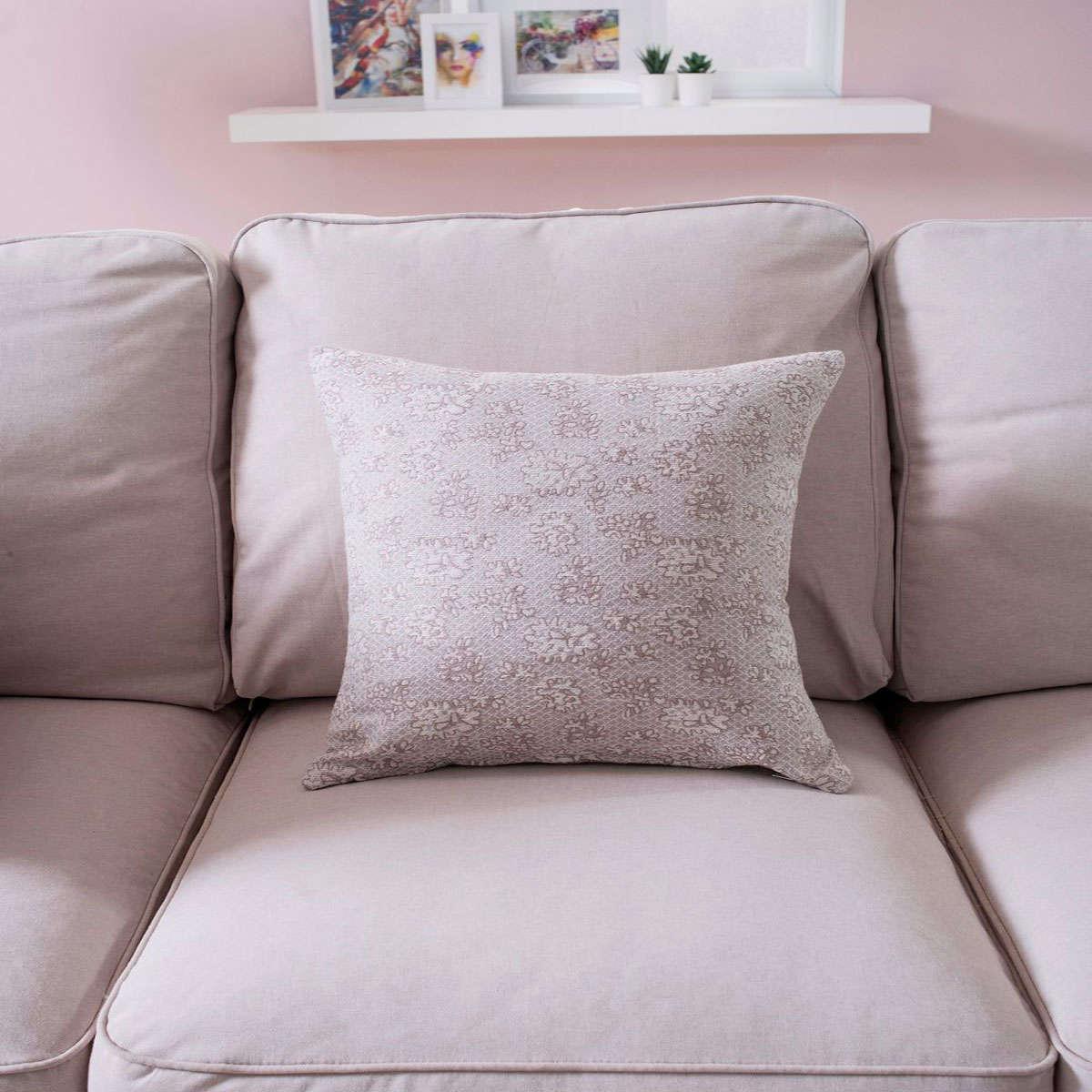 Μαξιλαροθήκη Διακοσμητική Amalfi 03 Grey Teoran 45X45 Βαμβάκι-Polyester