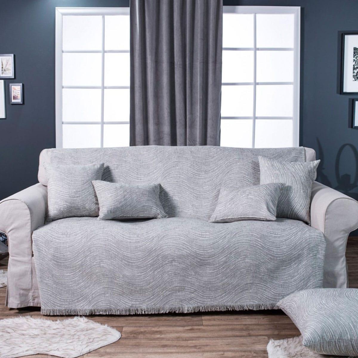 Μαξιλάρι Διακοσμητικό (Με Γέμιση) Δαπέδου Oregon 11 Light Grey Teoran 60X60 Ακρυλικό-Polyester