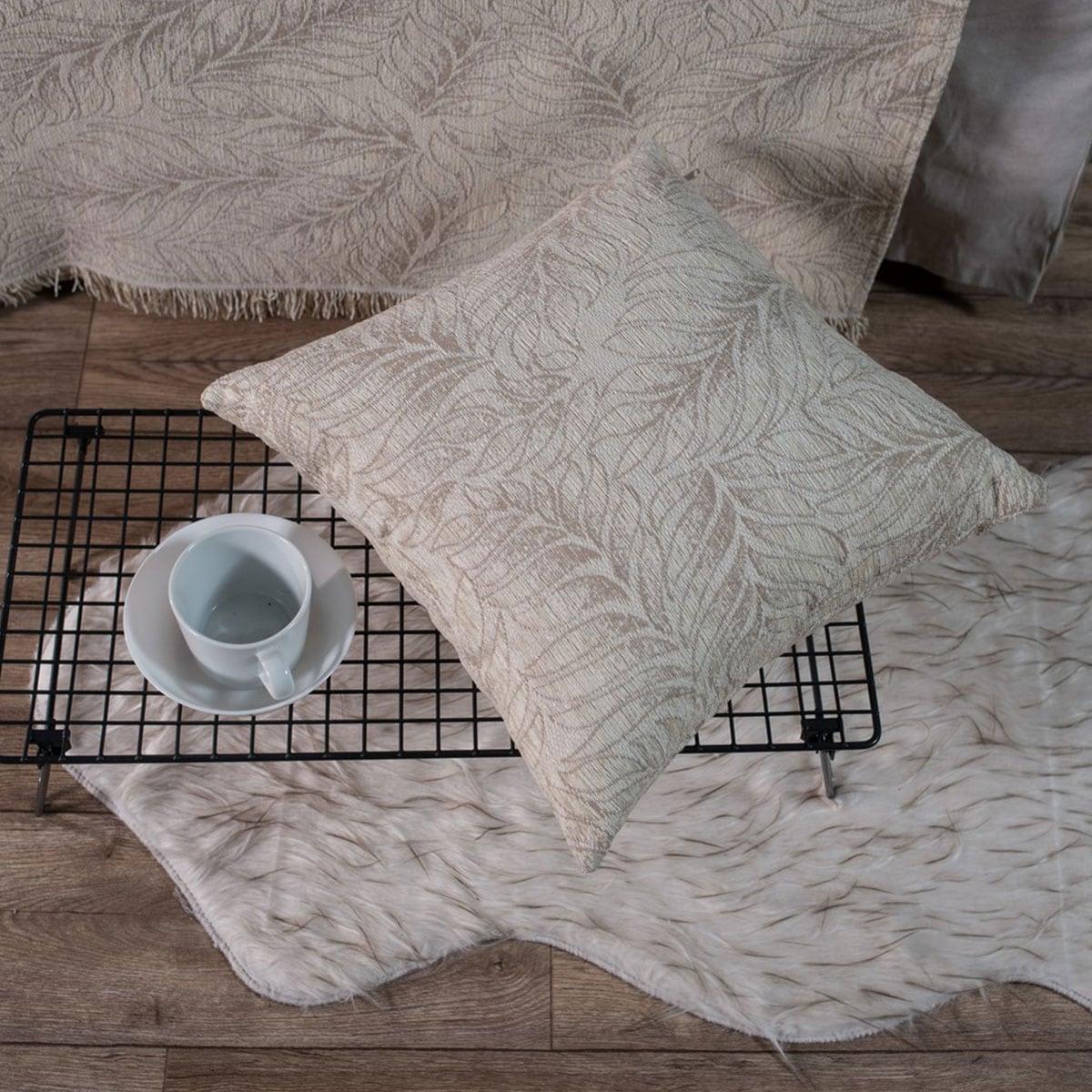Μαξιλάρι Διακοσμητικό (Με Γέμιση) Illinois 01 Ecru Teoran 45X45 Ακρυλικό-Polyester