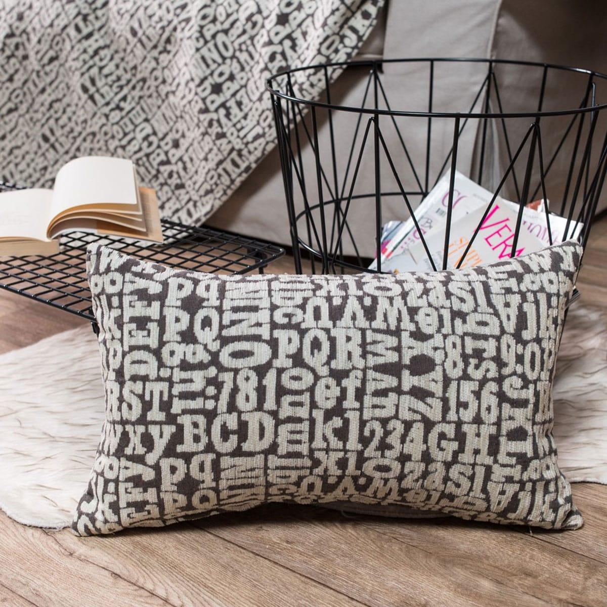 Μαξιλάρι Διακοσμητικό (Με Γέμιση) Letters 03 Elephant Teoran 30Χ50 Ακρυλικό-Polyester