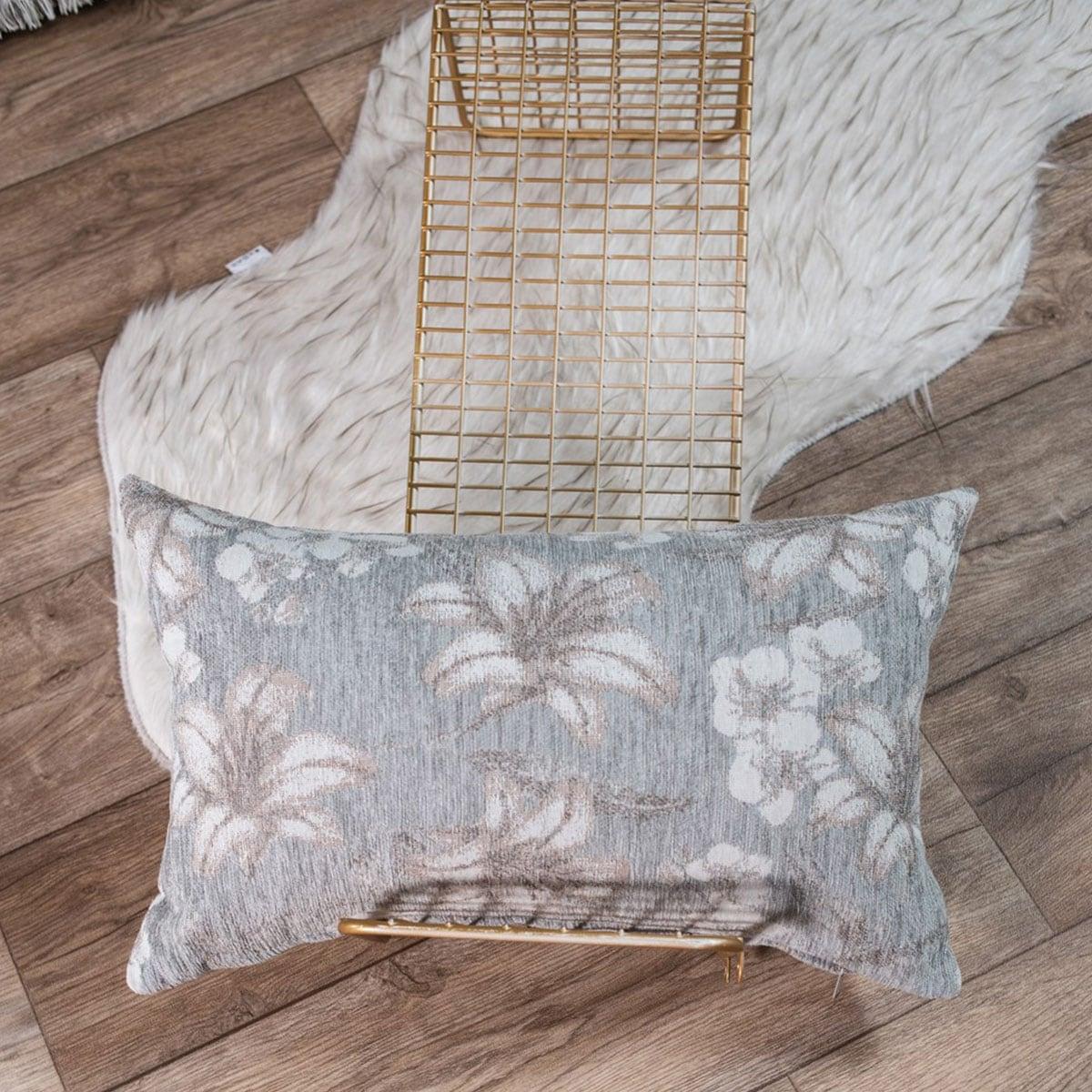 Μαξιλάρι Διακοσμητικό (Με Γέμιση) Louisiana 11 Light Grey Teoran 30Χ50 Ακρυλικό-Polyester