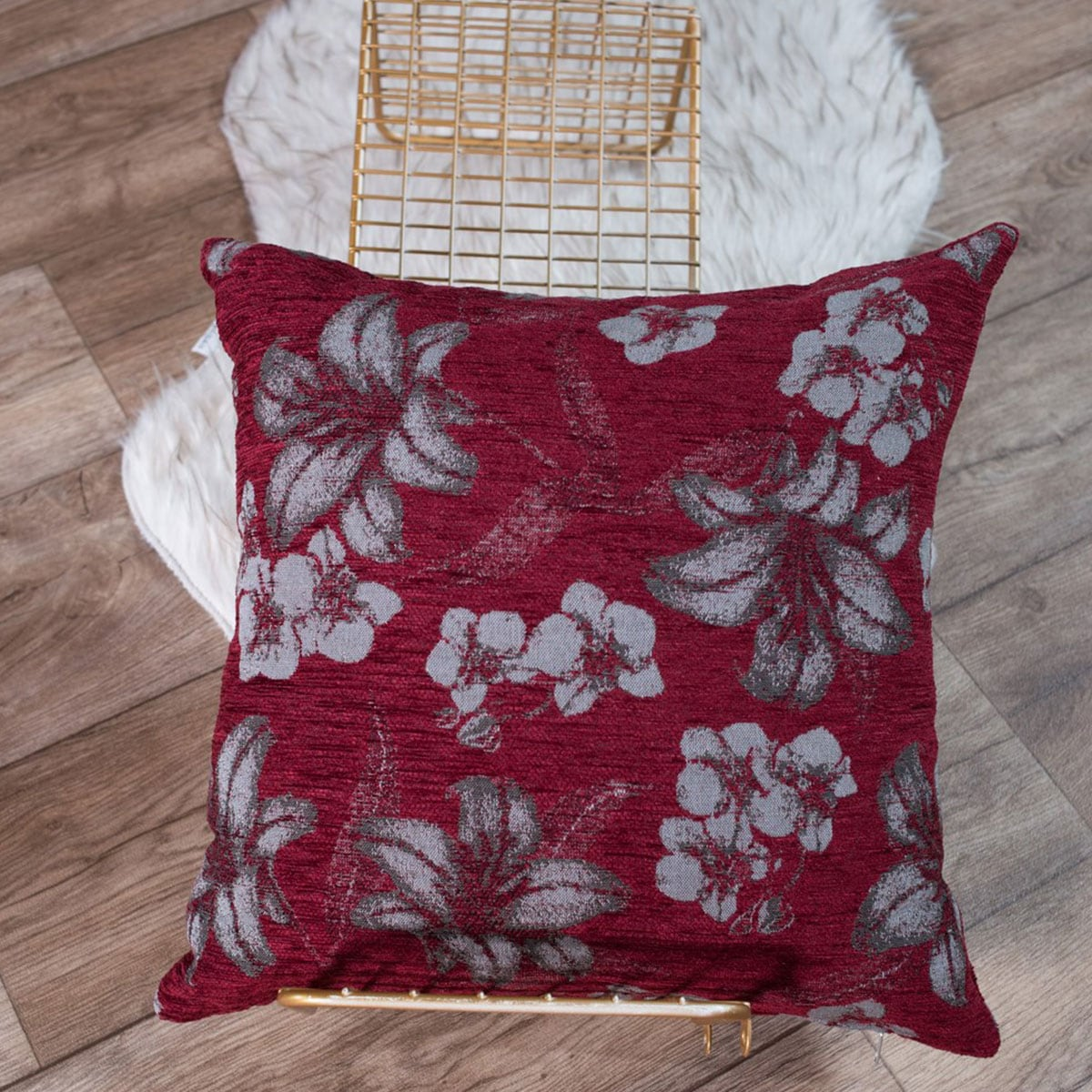 Μαξιλάρι Διακοσμητικό (Με Γέμιση) Louisiana 10 Bordo Teoran 45X45 Ακρυλικό-Polyester