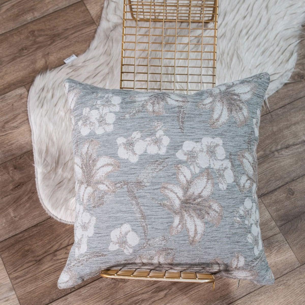 Μαξιλάρι Διακοσμητικό (Με Γέμιση) Louisiana 11 Light Grey Teoran 45X45 Ακρυλικό-Polyester