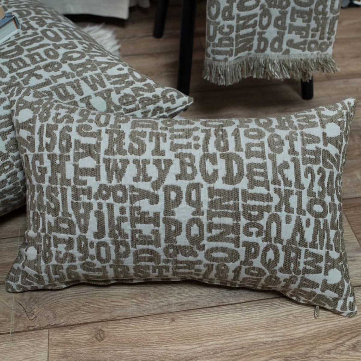 Μαξιλαροθήκη Διακοσμητική Letters 02 BeigeTeoran 30Χ50 Ακρυλικό-Polyester