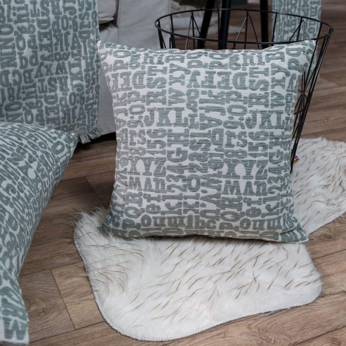 Μαξιλαροθήκη Διακοσμητική Letters 04 Grey Teoran 45X45 Ακρυλικό-Polyester